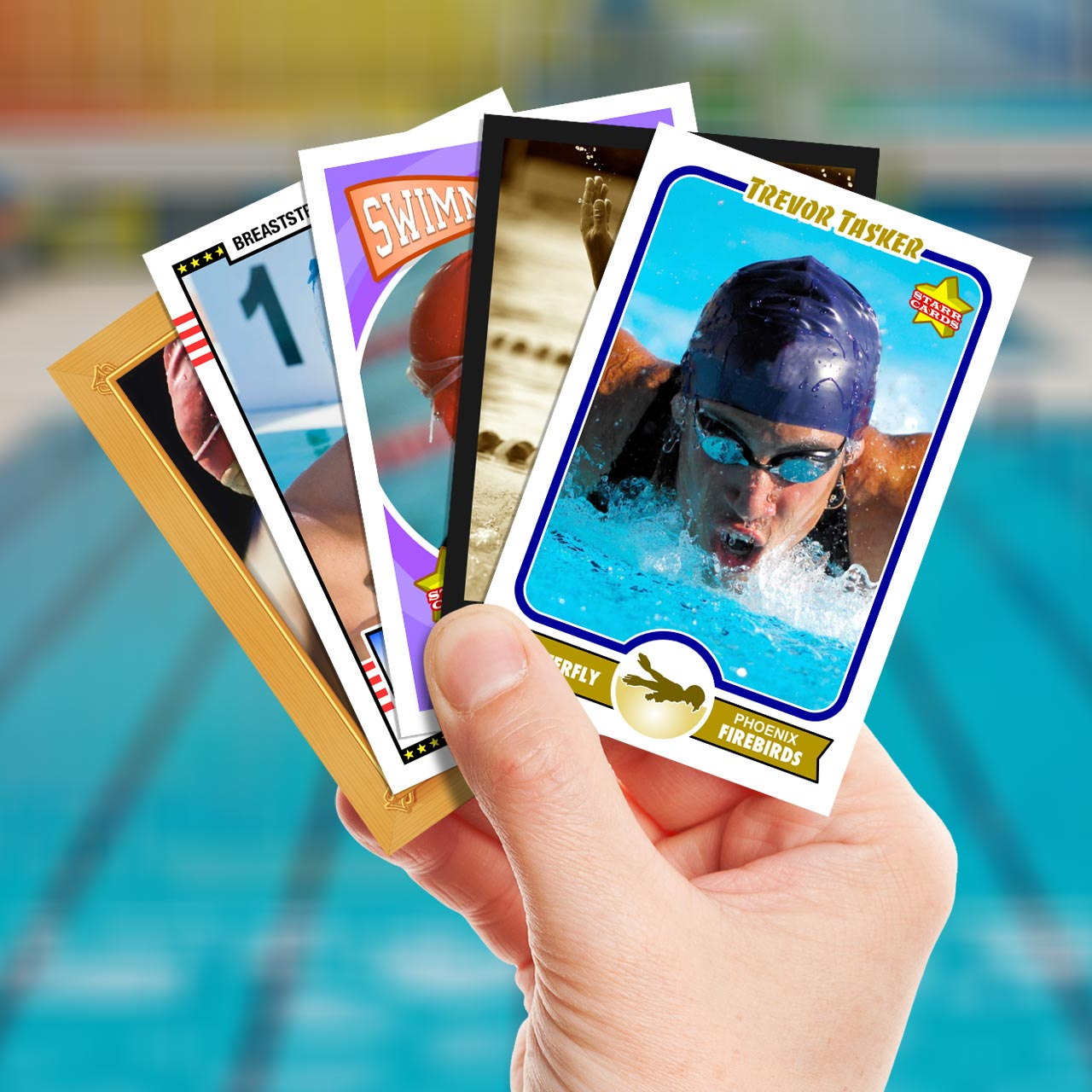 Make your own swimming card with Starr Cards.