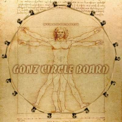 """Mark Gonzales' circle board a la Leonardo da Vinci's """"Vitruvian Man"""""""