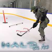 Master Chief from 'Halo' plays ice hockey