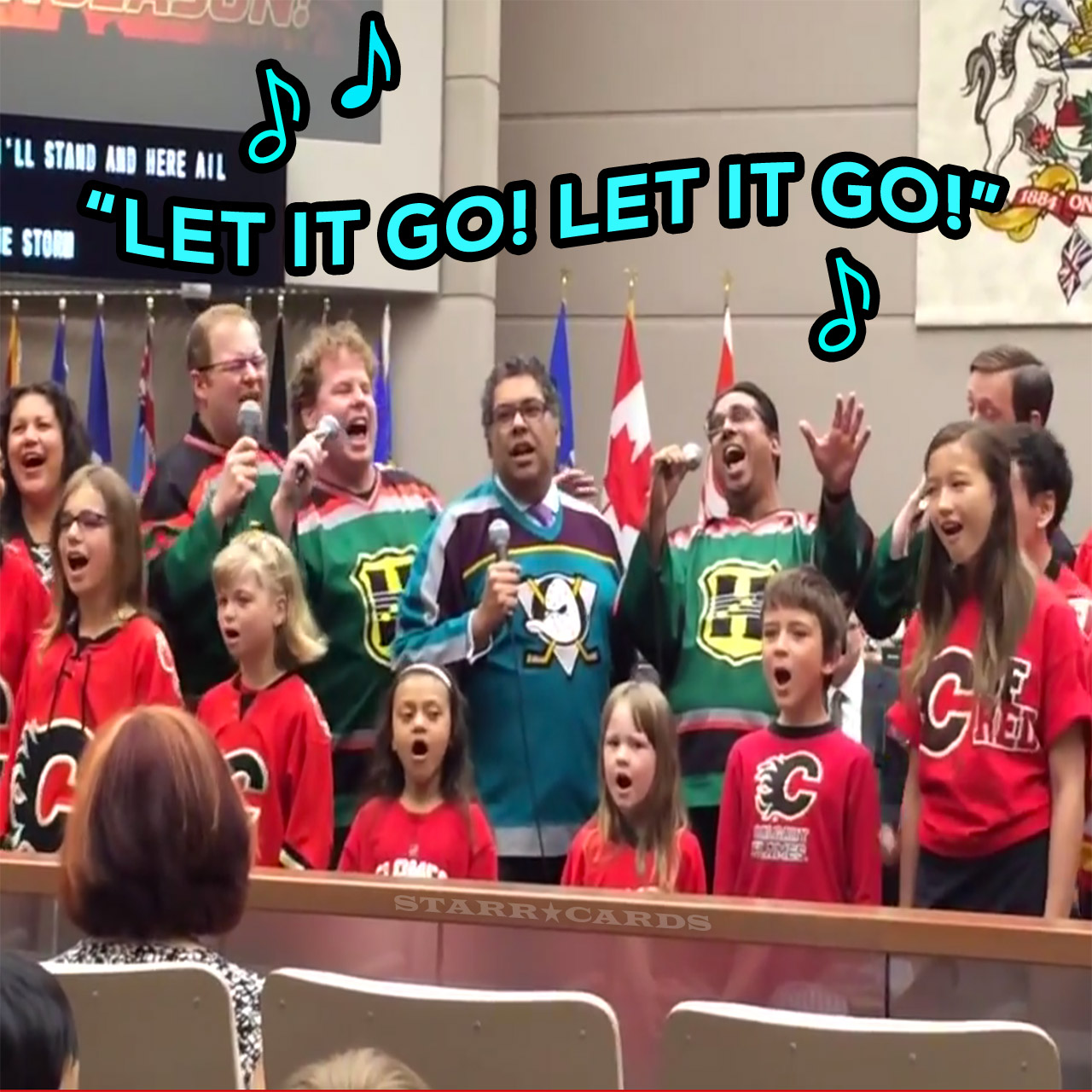 "Mayor Naheed Nenshi sings ""Let it Go"" with Calgary Flames fans"