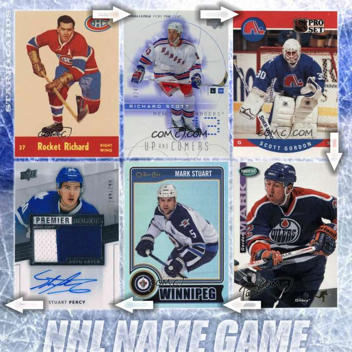 NHL Name Game: Linking Maurice Richard Scott Gordon Mark Stuart Percy Jackson and... ?