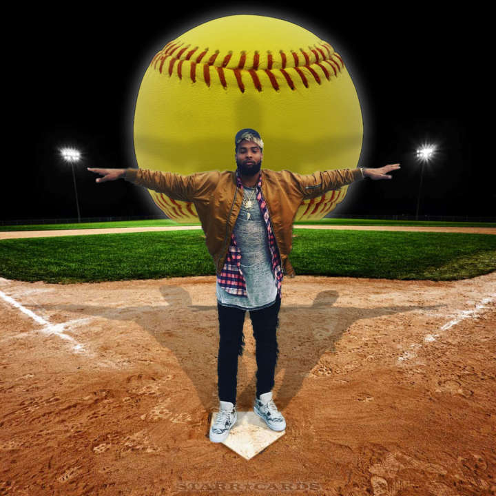 Odell Beckham Jr. knows how to slug a softball