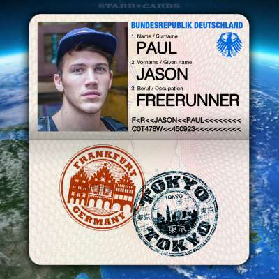 Passport from Frankfurt, Germany to Tokyo, Japan for freerunner Jason Paul