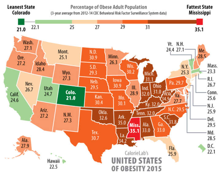 Percentage of Obese Adult Population in United States