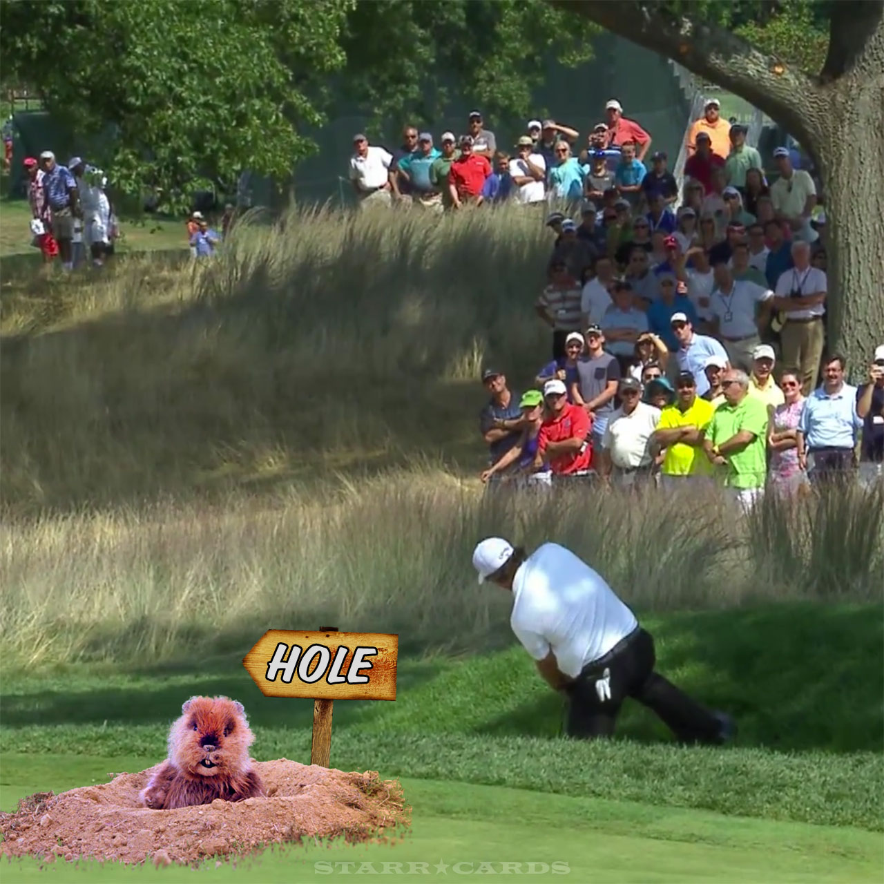 Phil Mickelson tries backward shot on the 18th hole at The Barclays