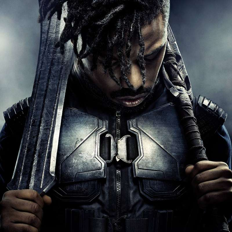 "Poster of Michael B. Jordan as Erik ""Killmonger"" Stevens from 'Black Panther'"