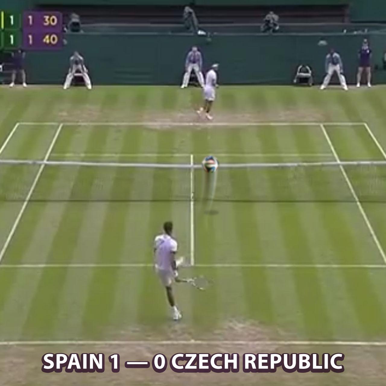 Rafael Nadal and Lukas Rosol engage in football at Wimbledon