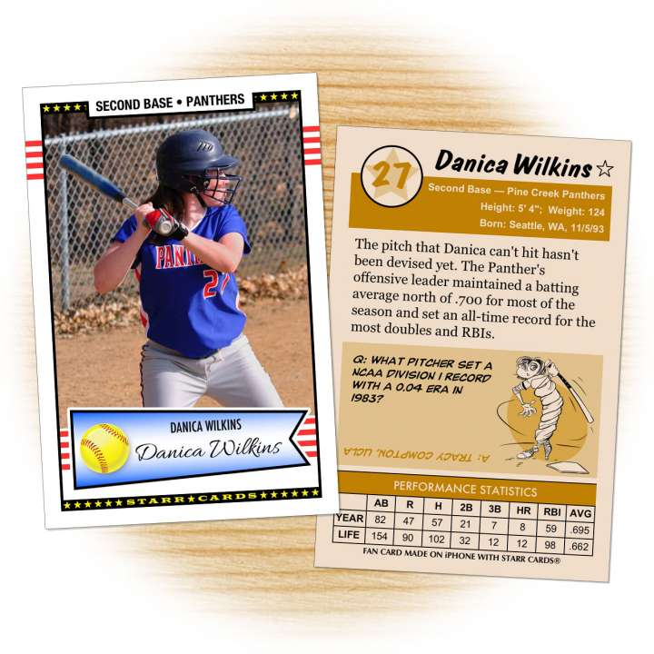 Softball card template from Starr Cards Softball Card Maker.