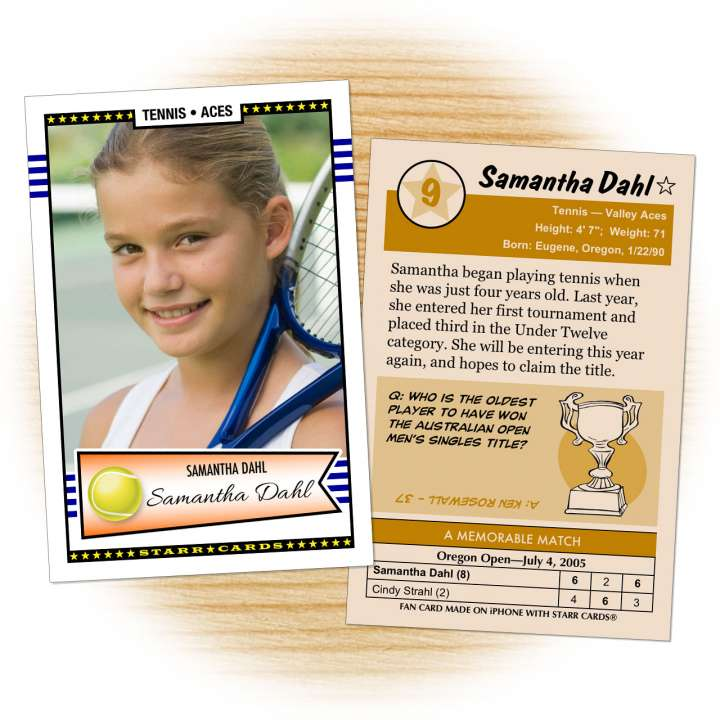 Tennis card template from Starr Cards Tennis Card Maker.