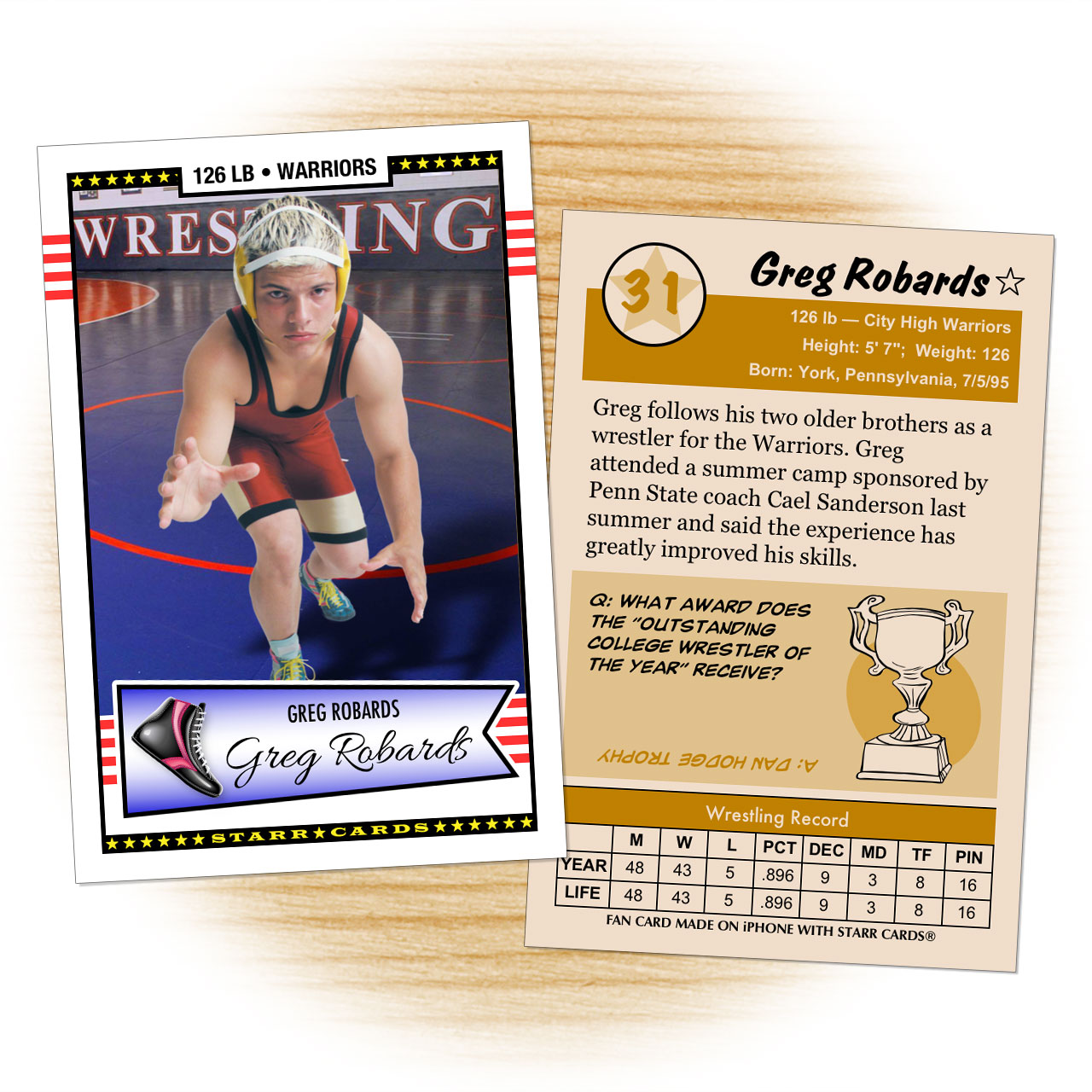Retro 50 Series custom wrestling cards