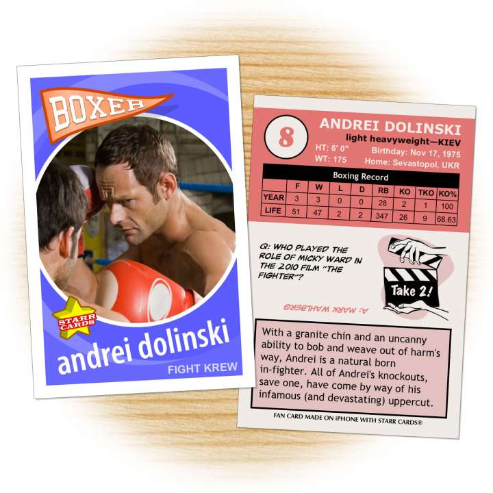 Boxing card template from Starr Cards Boxing Card Maker.
