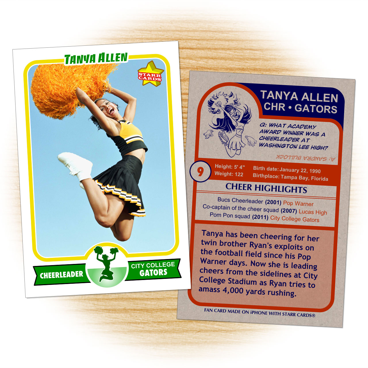 Cheerleader card template from Starr Cards Cheerleader Card Maker.