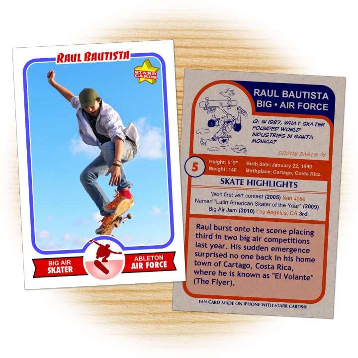 Skateboarding card template from Starr Cards Skateboarding Card Maker.