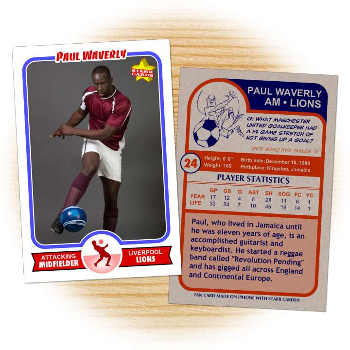 Soccer card template from Starr Cards Soccer Card Maker.