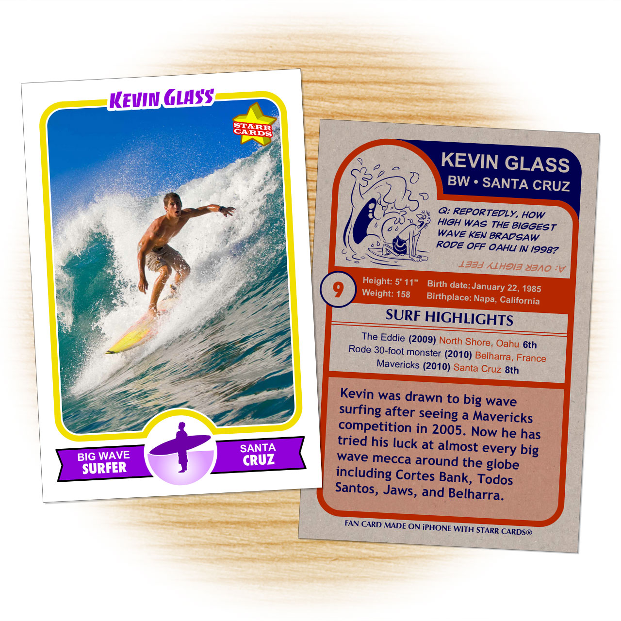 Retro 75 Series custom surfing cards