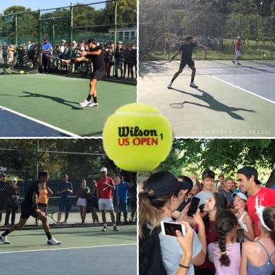 Roger Federer gets in US Open practice at NYC's famed Central Park