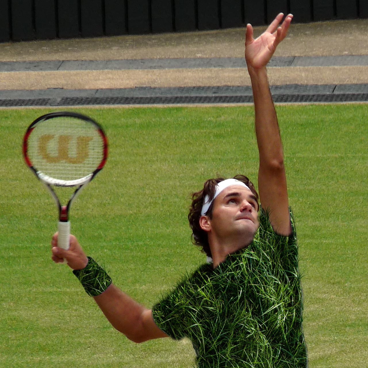 Roger Federer in grass attire.