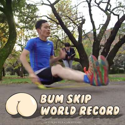 Sadatoshi Watanabe breaks jump rope world record for bum skips