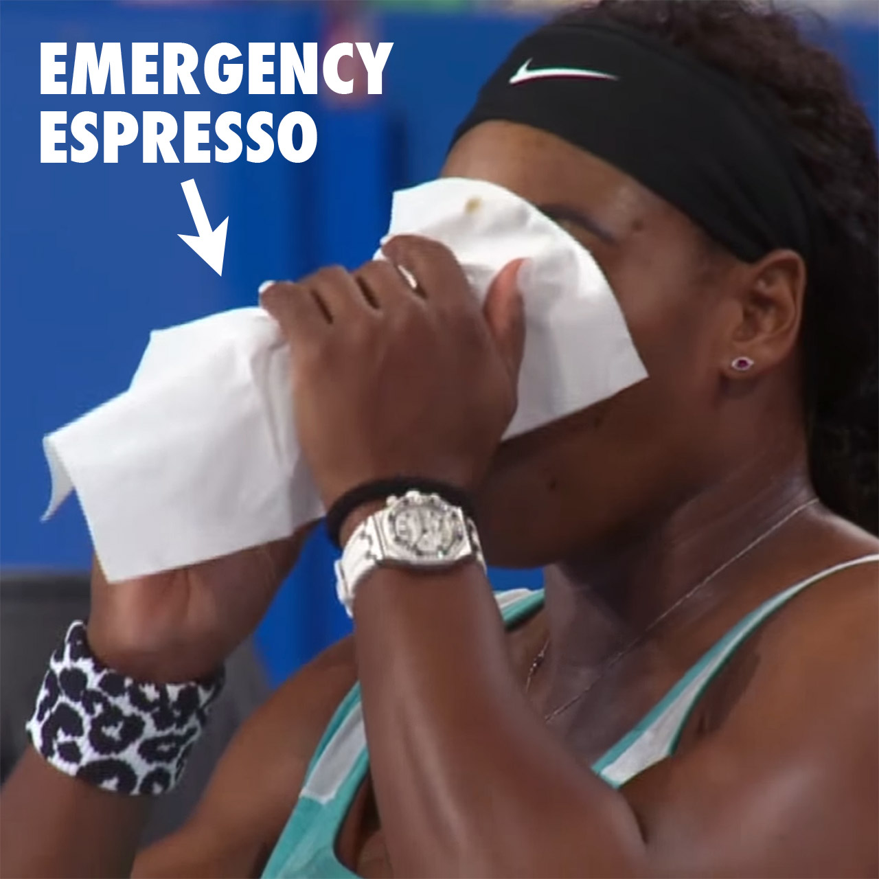 Serena Williams downs an espresso coffee between sets in Perth, Australia