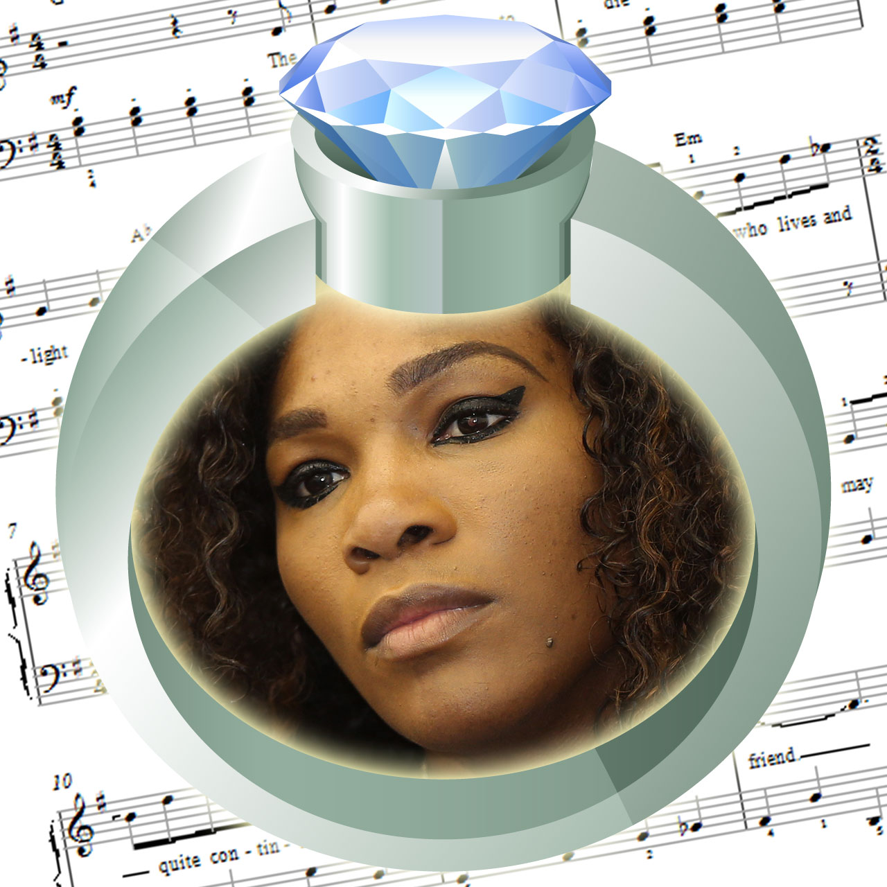 "Serena Williams performs karaoke version of ""Diamonds Are A Girl's Best Friend""."