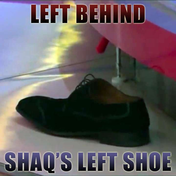 Shaquille O'Neal's shoe left behind after anchor takes a tumble