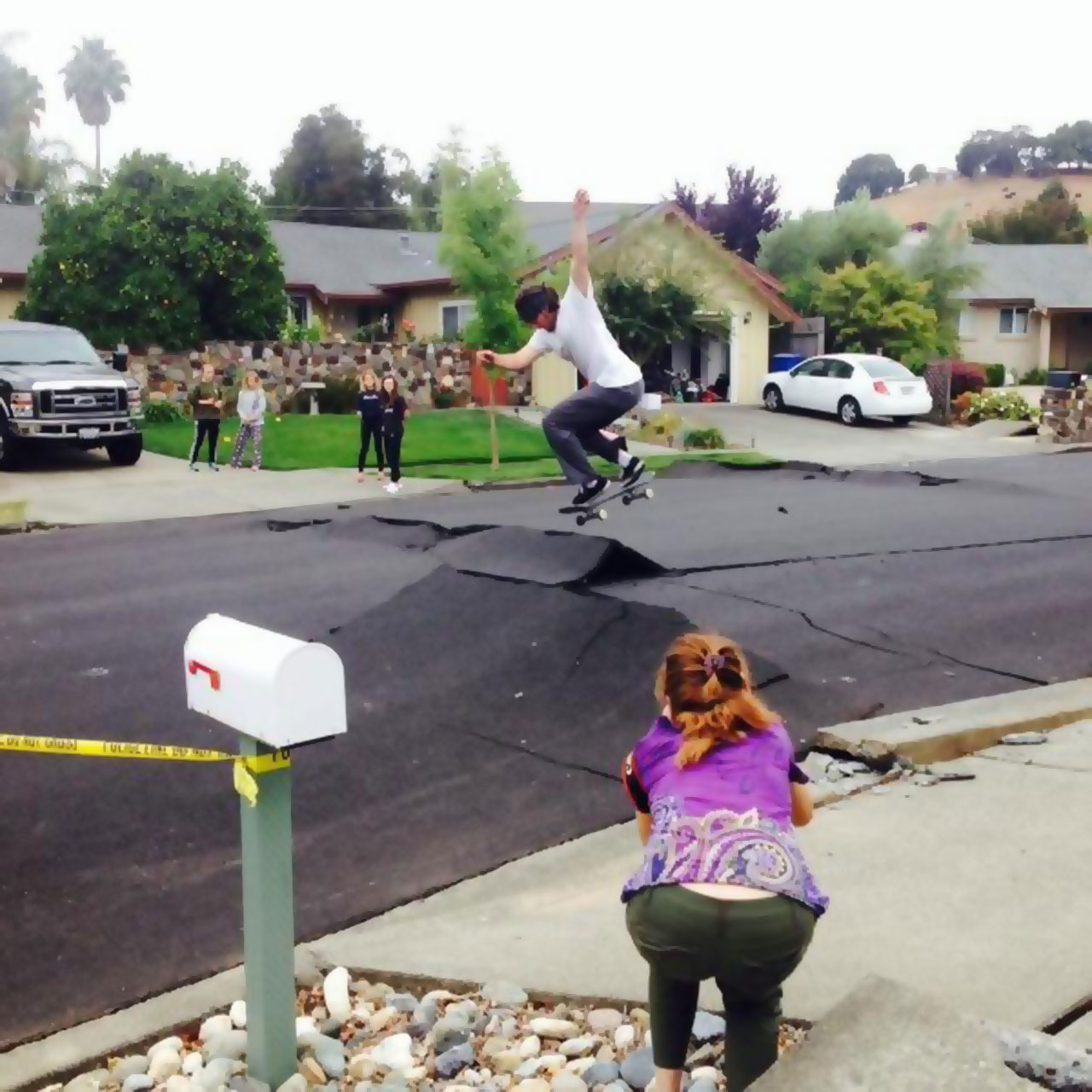 Skateboard ramp made by Napa, California earthquake