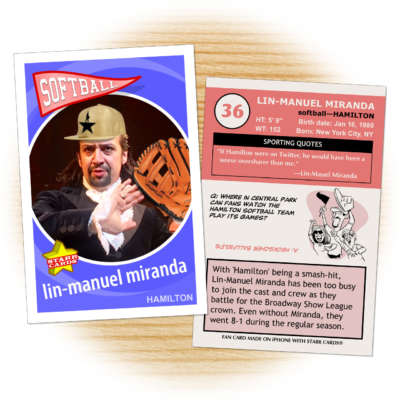Softball card of 'Hamilton' creator Lin-Manuel Miranda