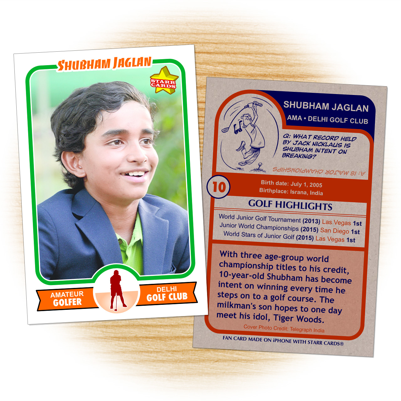 Sports card made by fan of golfer Shubham Jaglan