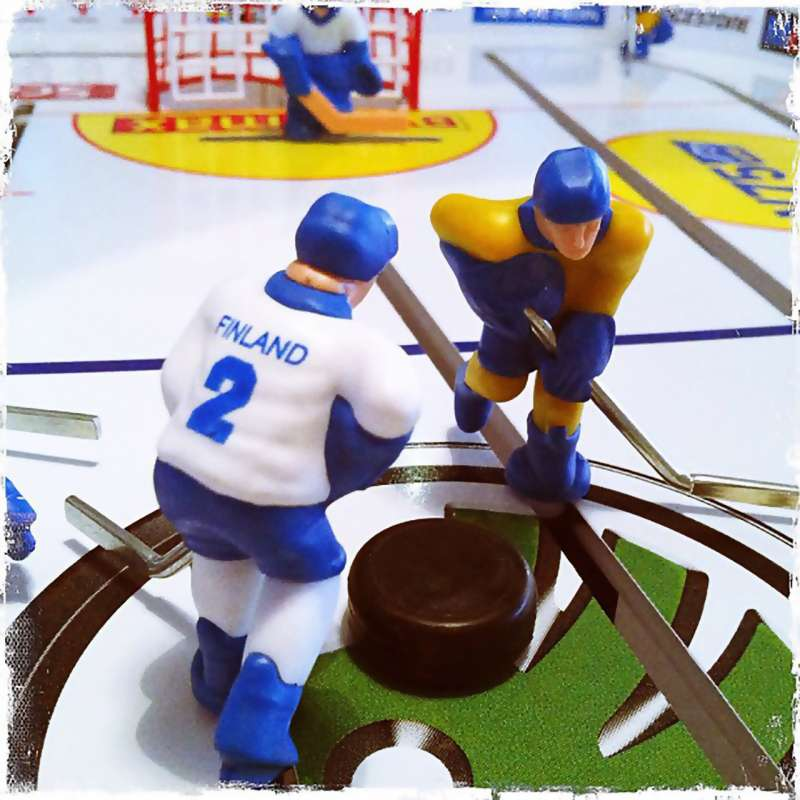 Table hockey: Stiga Play Off rod hockey game pitting Finland vs Sweden