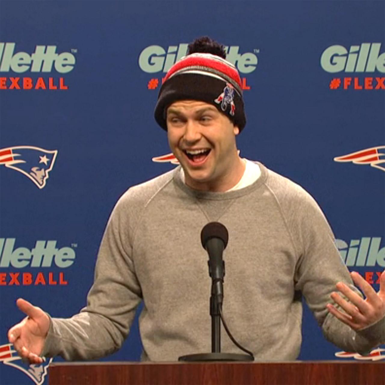 Taran Killam as Patriots QB Tom Brady tackles deflategate.