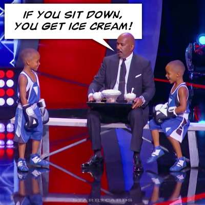 The Grandy twins take a break from boxing for ice cream with Steve Harvey