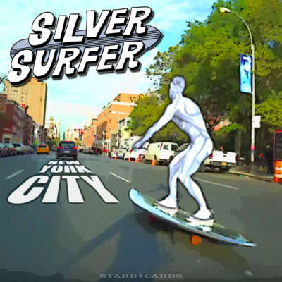 The Silver Surfer skates New York City