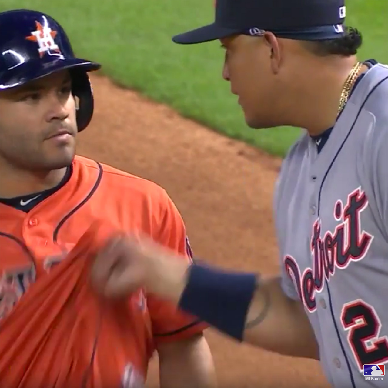 Tigers first baseman Miguel Cabrera messes with Astros All-Star Jose Altuve's shirt