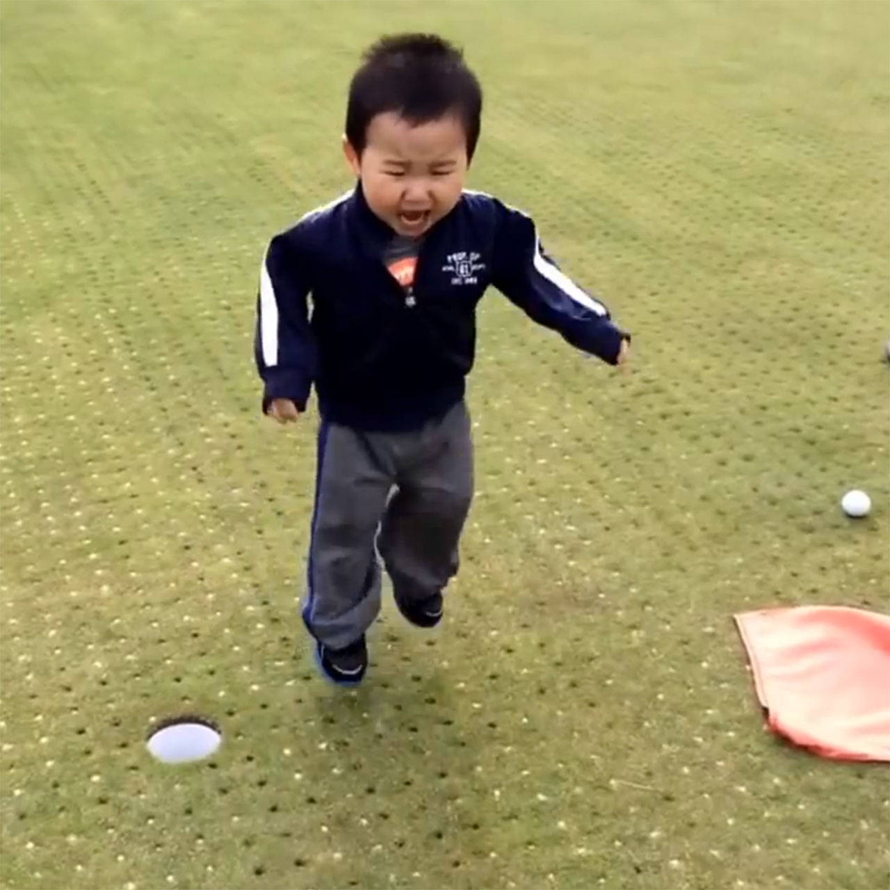 Toddler throws tantrum after missed putt.