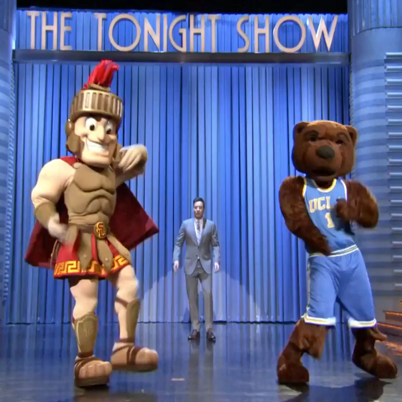 Tonight Show mascot dance-off features Tommy Trojan, Joe Bruin, and Hashtag the Panda