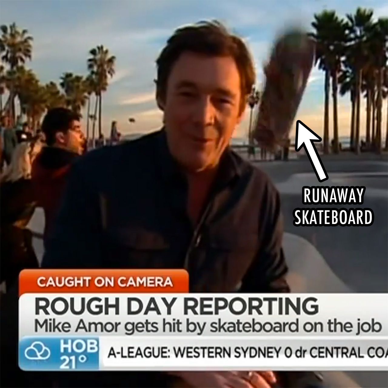 TV reporter Mike Amor struck by skateboard