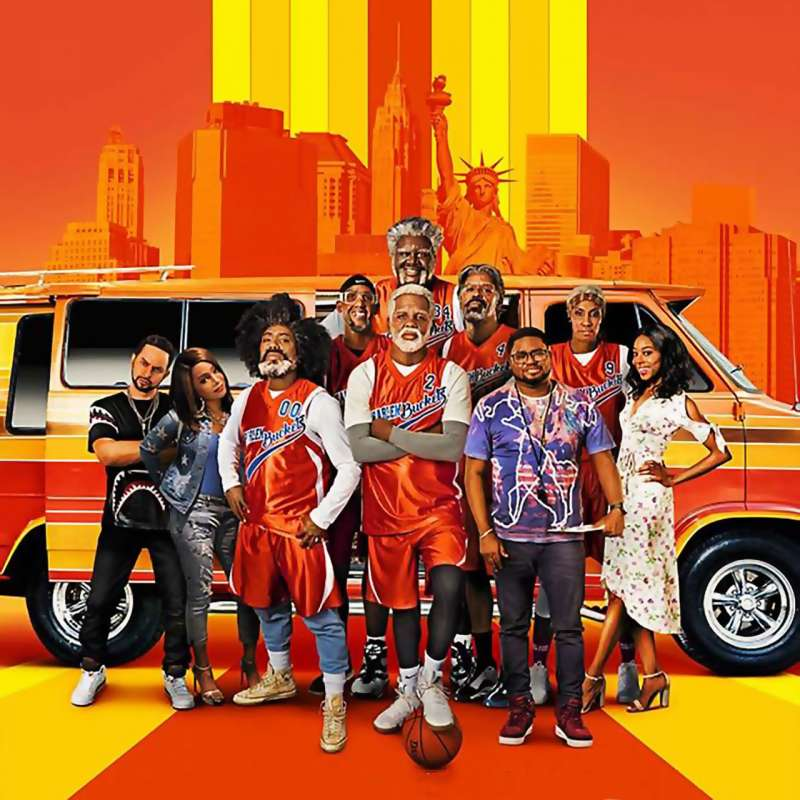 Uncle Drew movie poster with Kyrie Irving, Shaquille O'Neal, Chris Webber, Reggie Miller and more
