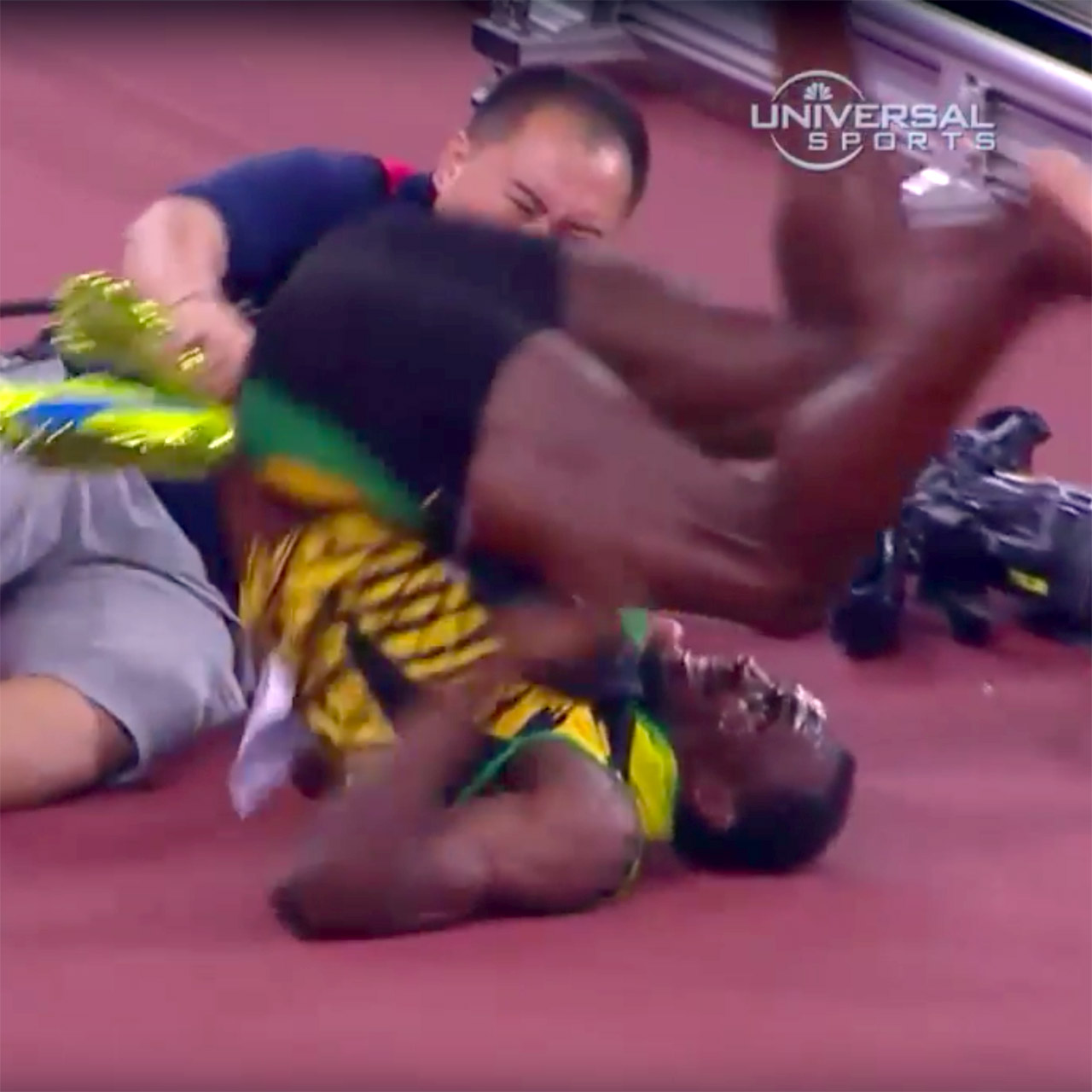 Usain Bolt taken out by cameraman's Segway