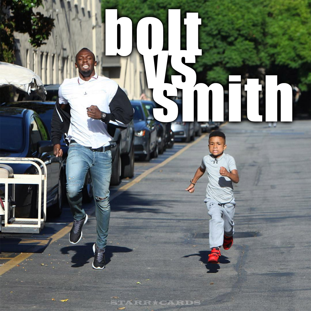 Usain Bolt vs 8-year-old Demarjay Smith