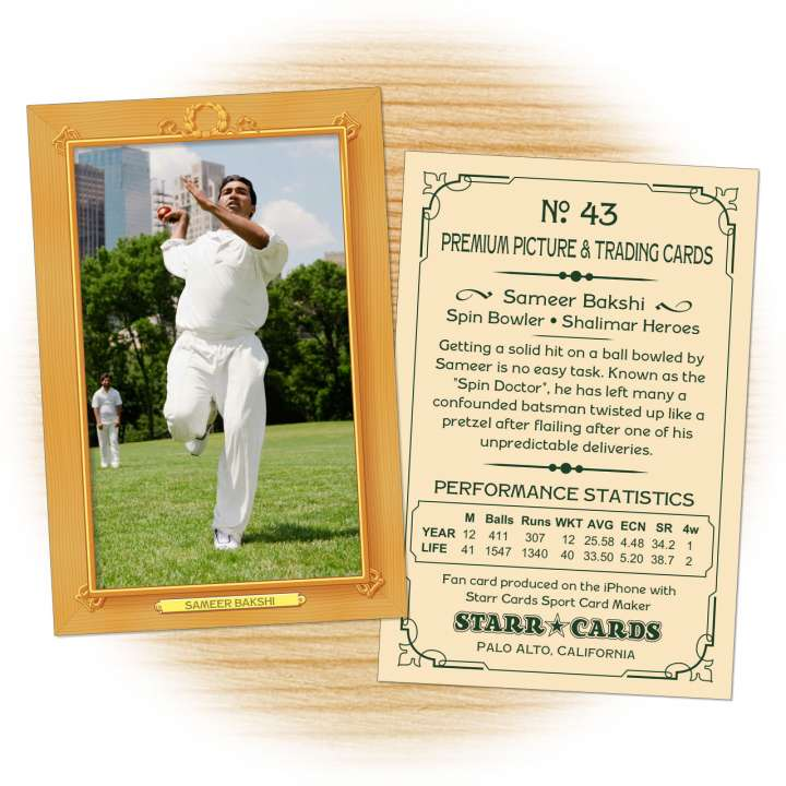 Cricket card template from Starr Cards Cricket Card Maker.