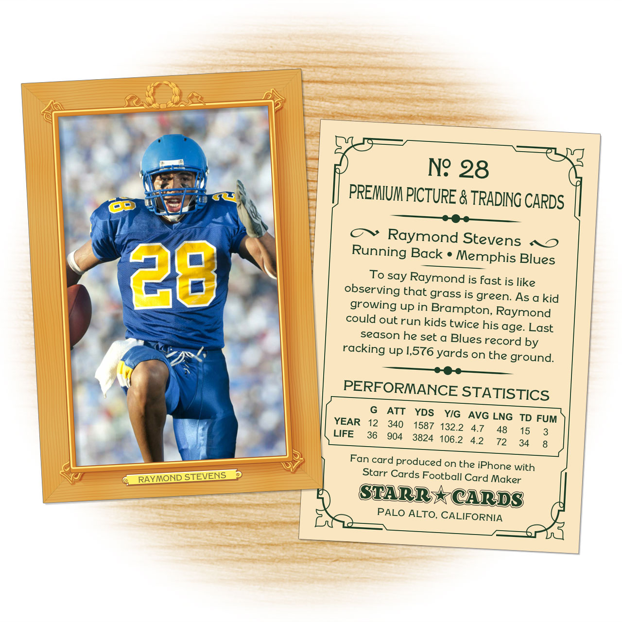 Vintage 11 Series custom football cards
