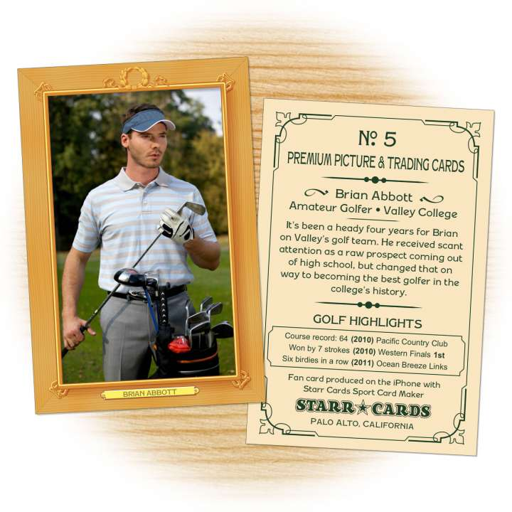 Golf card template from Starr Cards Golf Card Maker.