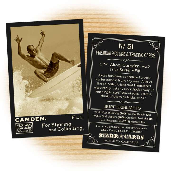 Surfer card template from Starr Cards Surfing Card Maker.