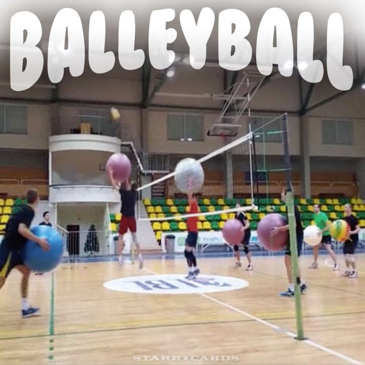 Volleyball with exercise balls equals balleyball