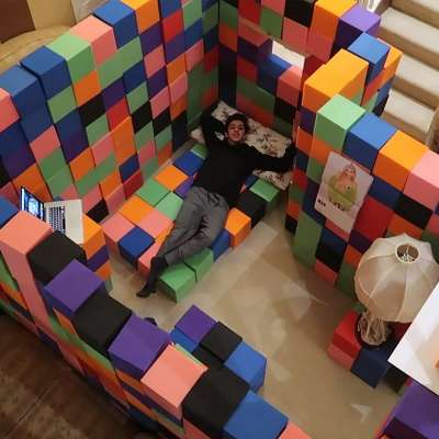 YouTuber Brian Awadis (aka FaZe Rug) makes room within a room from foam-pit cubes