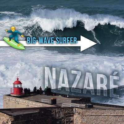 Big-wave surfing at Nazaré, Portugal