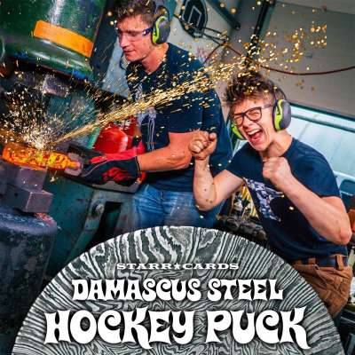 Blacksmith Alec Steele and his American guest forge a Damascus steel hockey puck