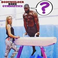 Bodybuilder does gymnastics: Gabriel Sey tries the pommel horse