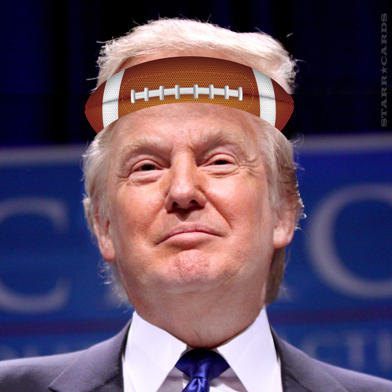 Donald Trump with football on the brain