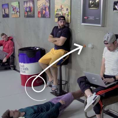 Dude Perfect goes sideways for water bottle flip trick optical illusion